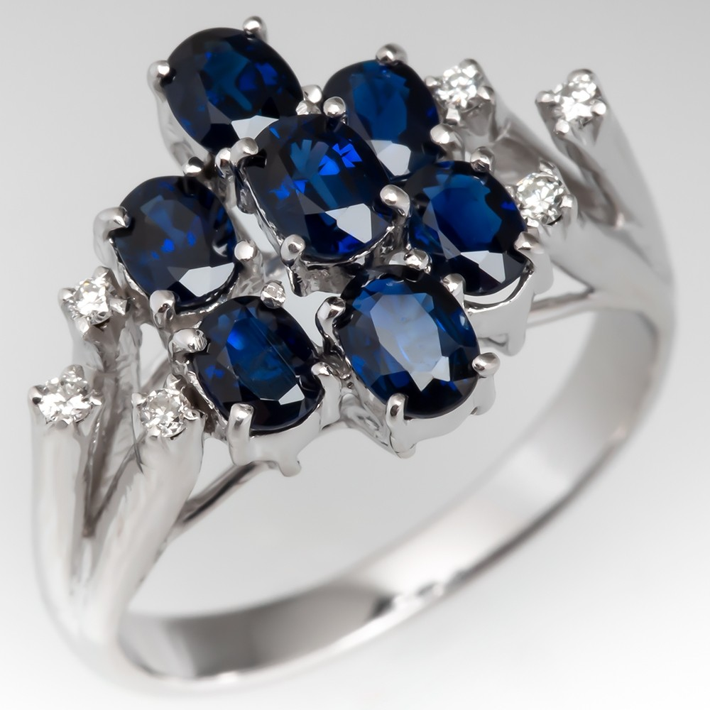Vintage Blue Sapphire Cluster Cocktail Ring w/ Diamonds 14K White Gold