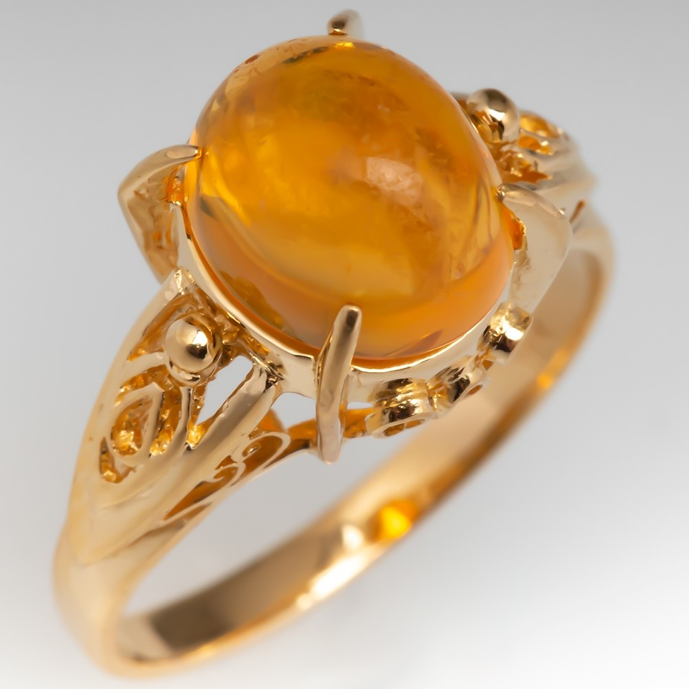 Natural Fire Opal Cabochon Gemstone Ring 18K Yellow Gold
