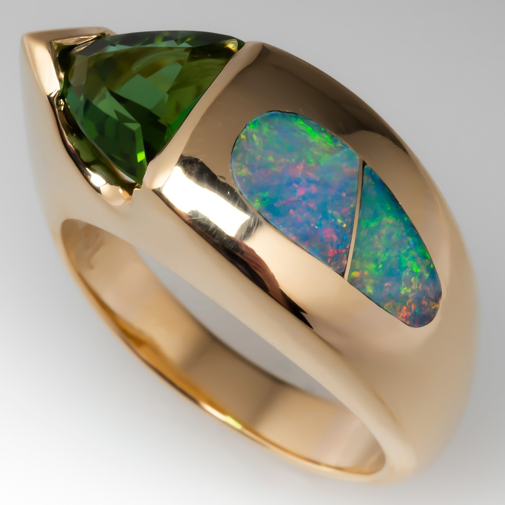 Triangle Peridot & Australian Opal Inlay Ring 14K Gold