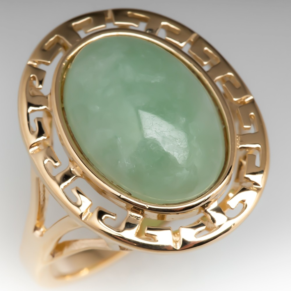 Light Green Jade Gemstone Ring Greek Key Motif 14K Gold