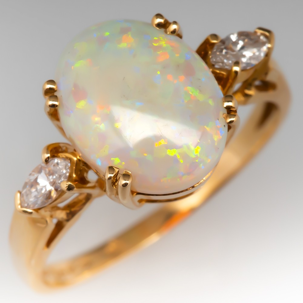 Estate Natural White Crystal Opal & Diamond Ring 14K Gold