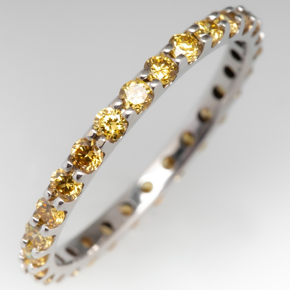Fancy Yellow Diamond Eternity Wedding Bands 14K White Gold Size 6.5