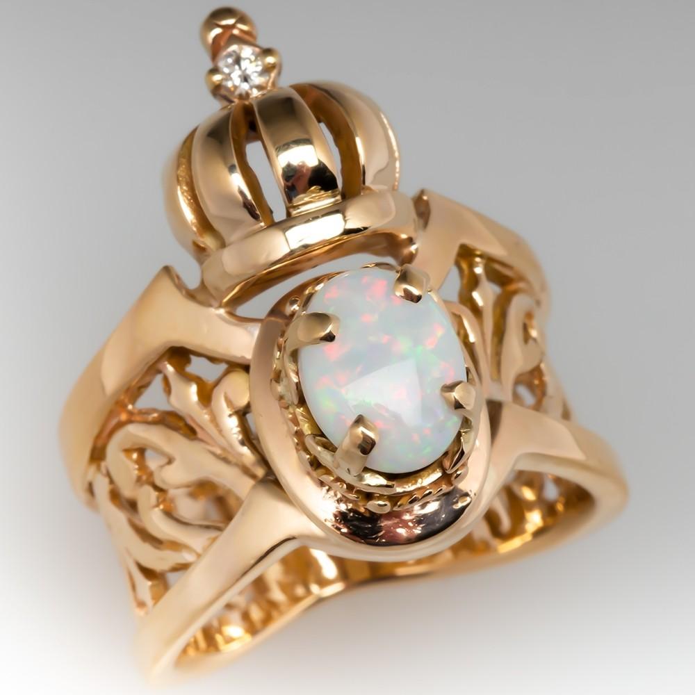 Vintage Opal & Diamond Scroll & Crown Cocktail Ring 14K Gold