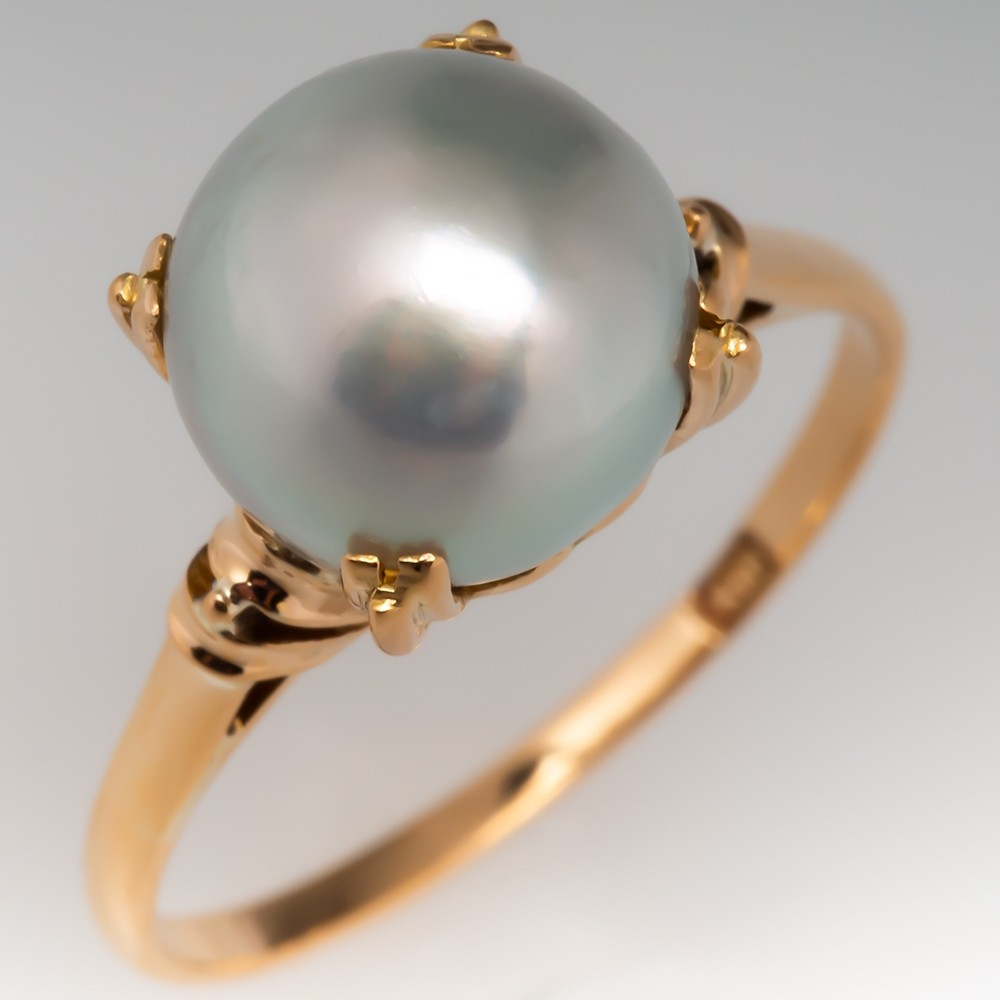 Vintage Pearl Solitaire Ring 18K Yellow Gold