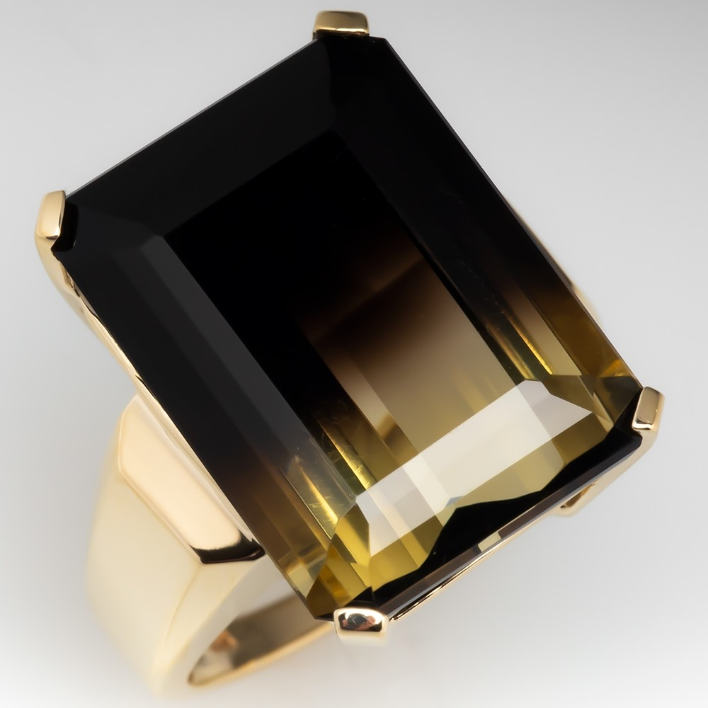 Large Bi Color Smoky Quartz Cocktail Ring 10K Yellow Gold