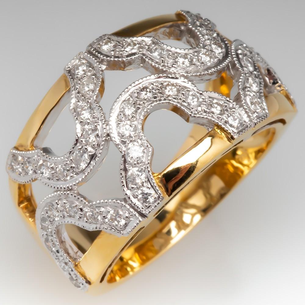 Beautiful Diamond Wide Band Ring 2 Tone 18K Gold