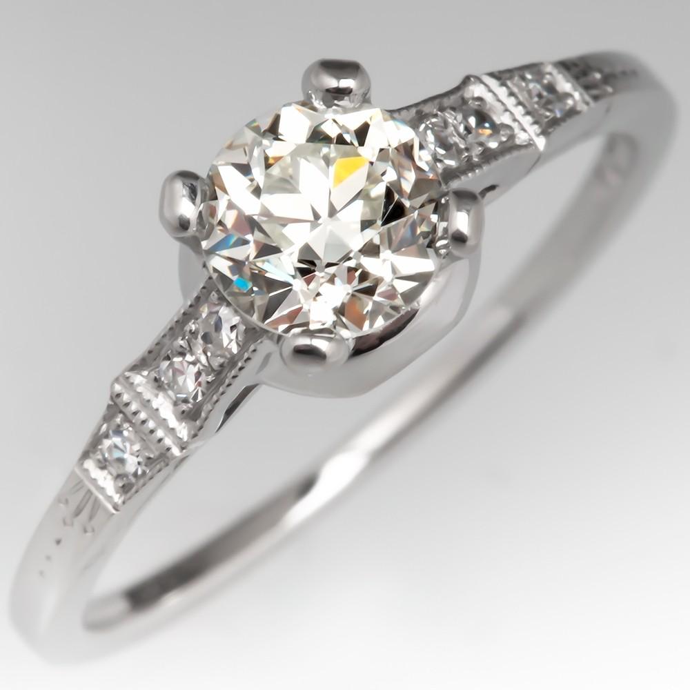 1930's Antique Diamond Engagement Ring Platinum Lambert Bros