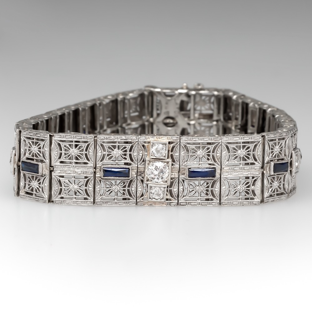 Late Art Deco Ornate Filigree Bracelet Diamonds w/ Synthetic Sapphires 14K White Gold