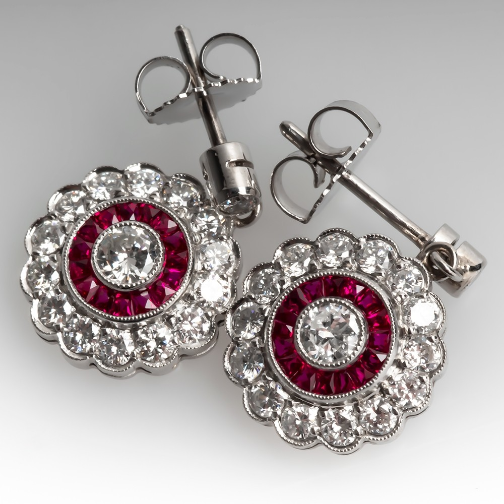 Lovely Diamond Ruby Halo Earrings Drop Dangle Platinum