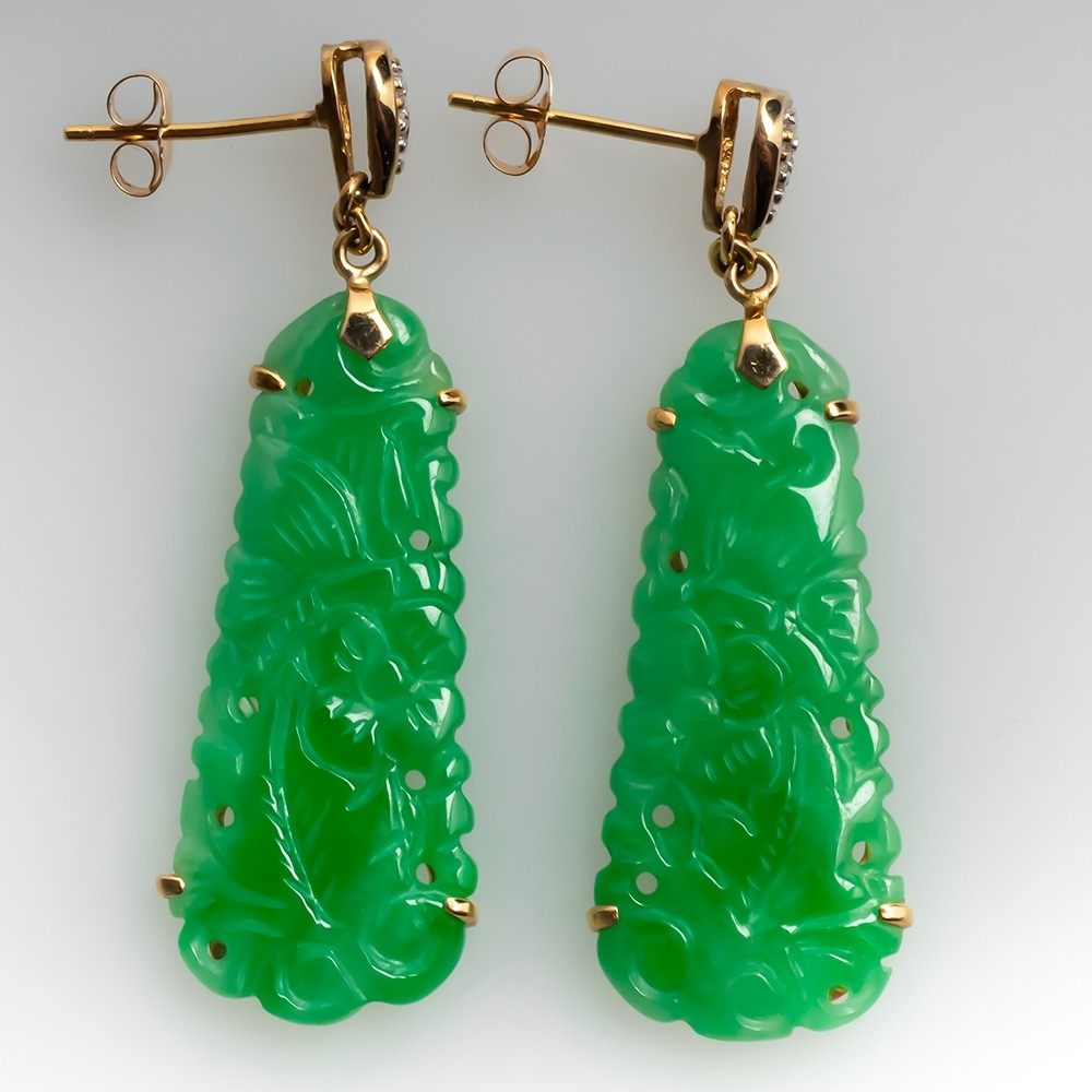 Untreated Jadeite A-Jade Carved Earrings w/ Diamond Accents 14K Gold