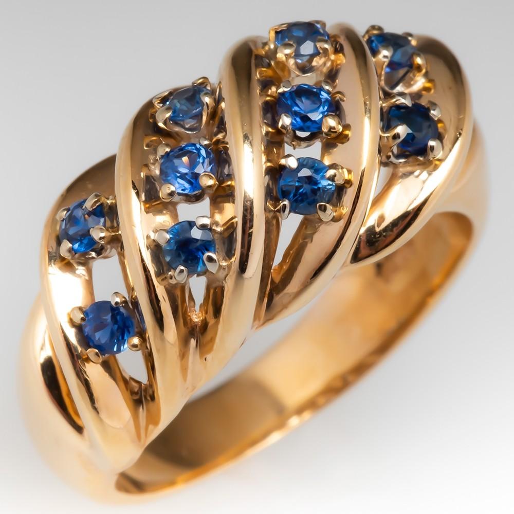 Lovely Estate Blue Sapphire Ring 14K Yellow Gold