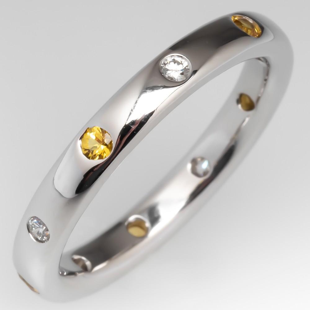 Alternating Yellow Sapphire & White Diamond Band Ring 14K, Size 8.75