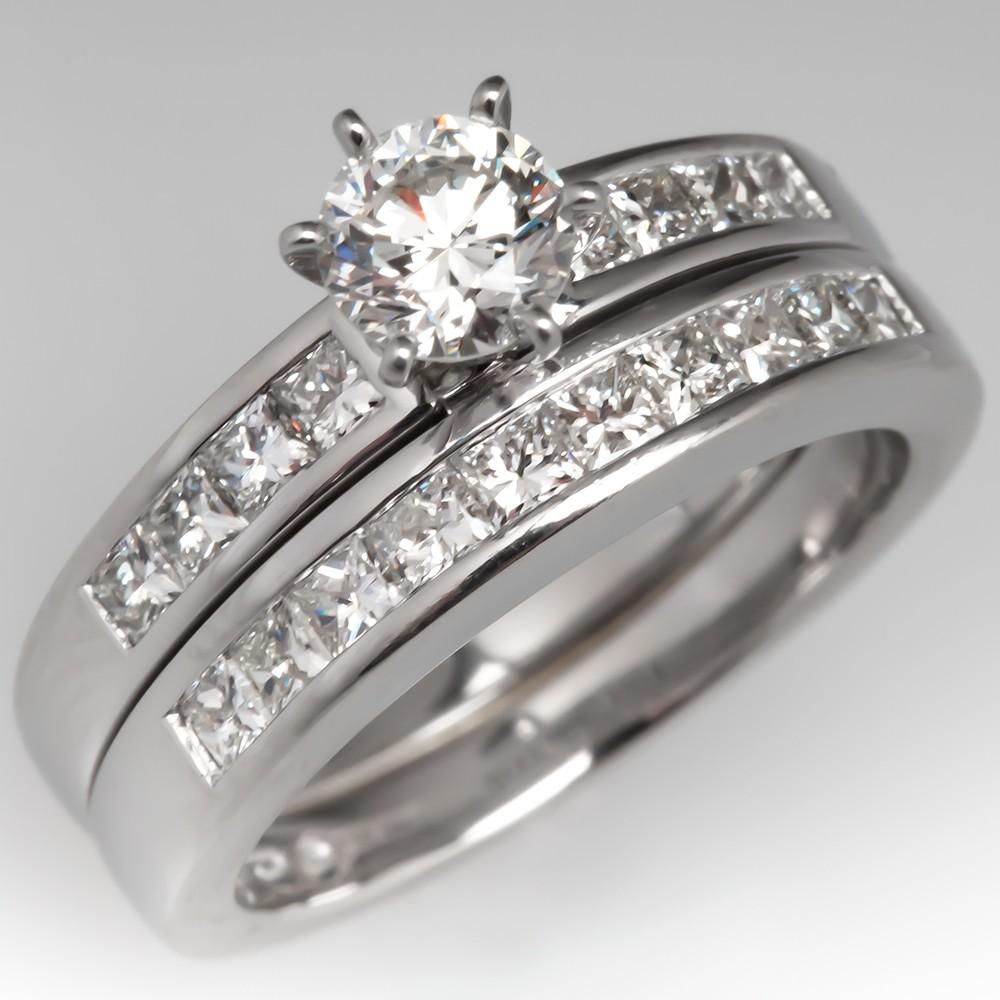 Modern Diamond Engagement Ring Wedding Set Platinum Channel Set
