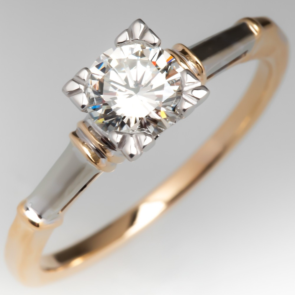 Vintage Round Brilliant Diamond Solitaire Engagement Ring Fishtail Head 14K