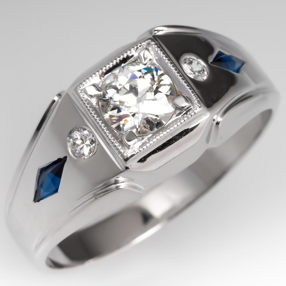 Mens Vintage Old Euro Diamond & Sapphire Band Ring 18K White Gold