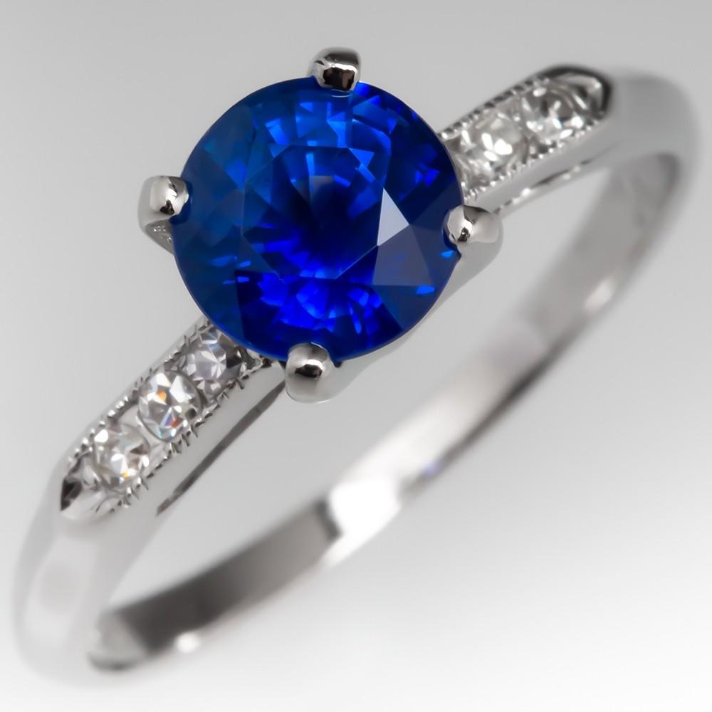 Blue Sapphire & Diamond Engagement Ring Vintage Platinum w/ Diamonds