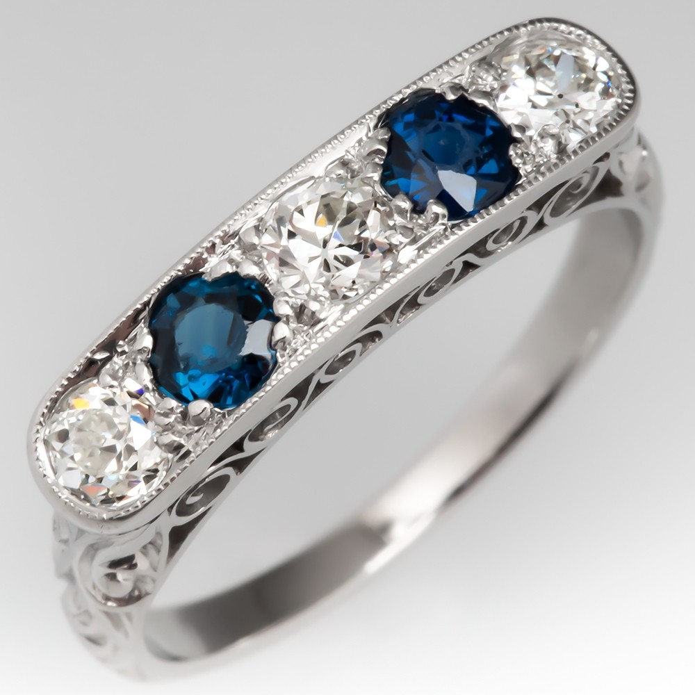 Old Euro Diamond & Sapphire Vintage Filigree Ring Platinum