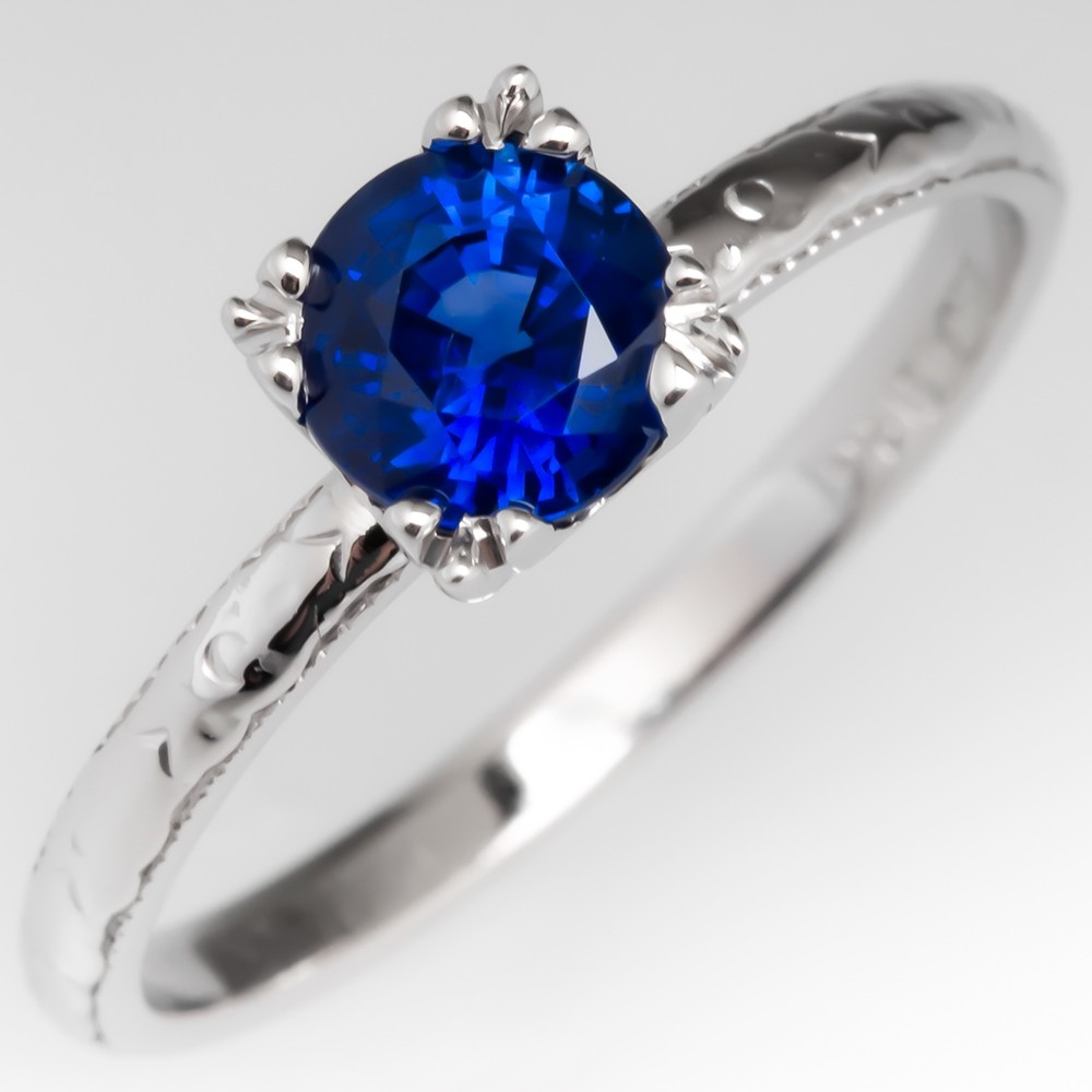 Blue Sapphire Solitaire Engagement Ring Vintage Belais Brothers Wedding Band