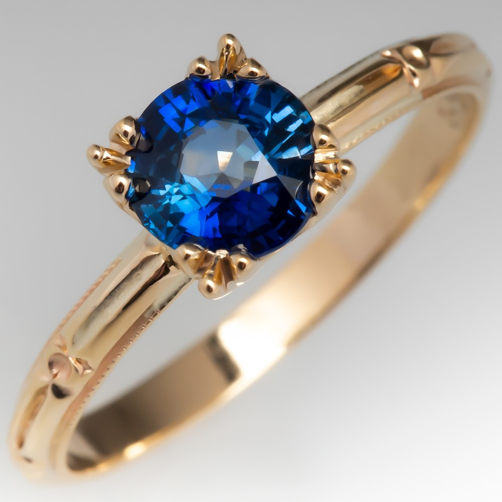 Blue Sapphire Solitaire Engagement Ring Engraved 14K Yellow Gold