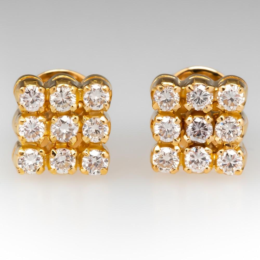 Cluster Diamond Stud Earrings 18K Yellow Gold