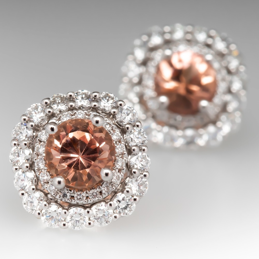 Imperial Topaz & Diamond Halo Stud Earrings 14K