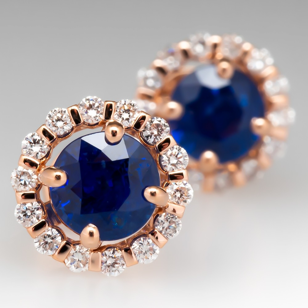 Beautiful Blue Sapphire Stud Earrings Rose Gold Diamond Halo