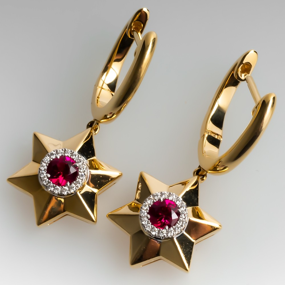 Spark Ruby Diamond Star Dangle Earrings 18K Yellow Gold