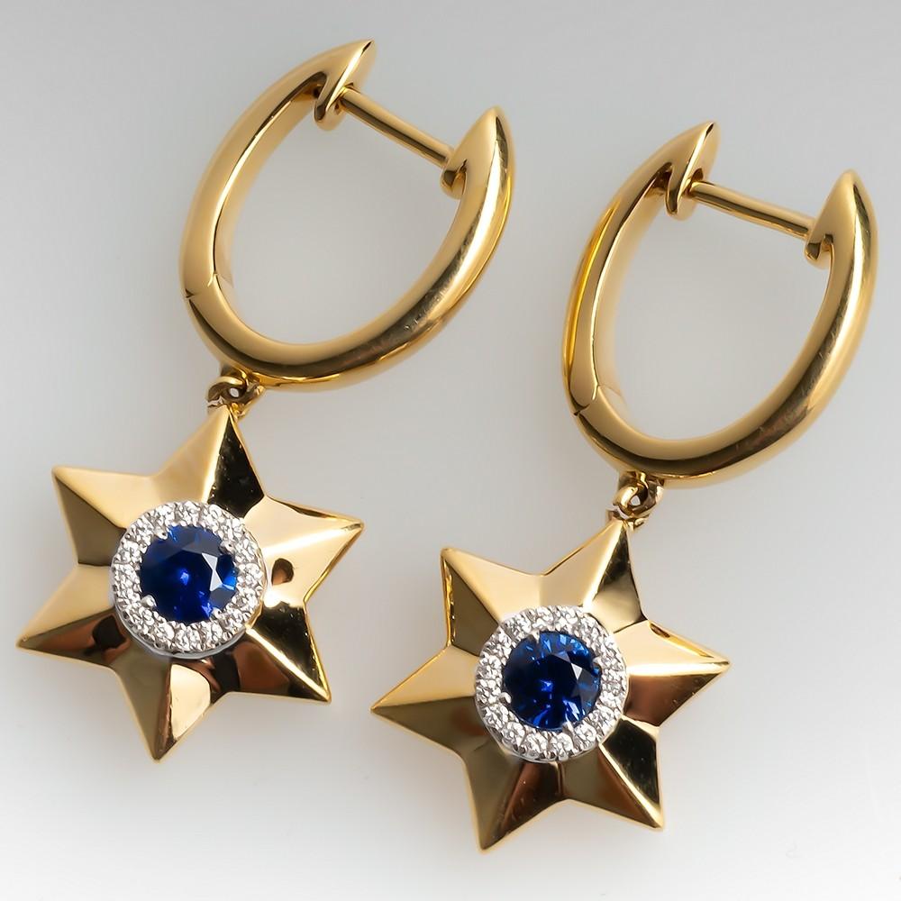 Spark Blue Sapphire & Diamond Star Dangle Earrings 18K
