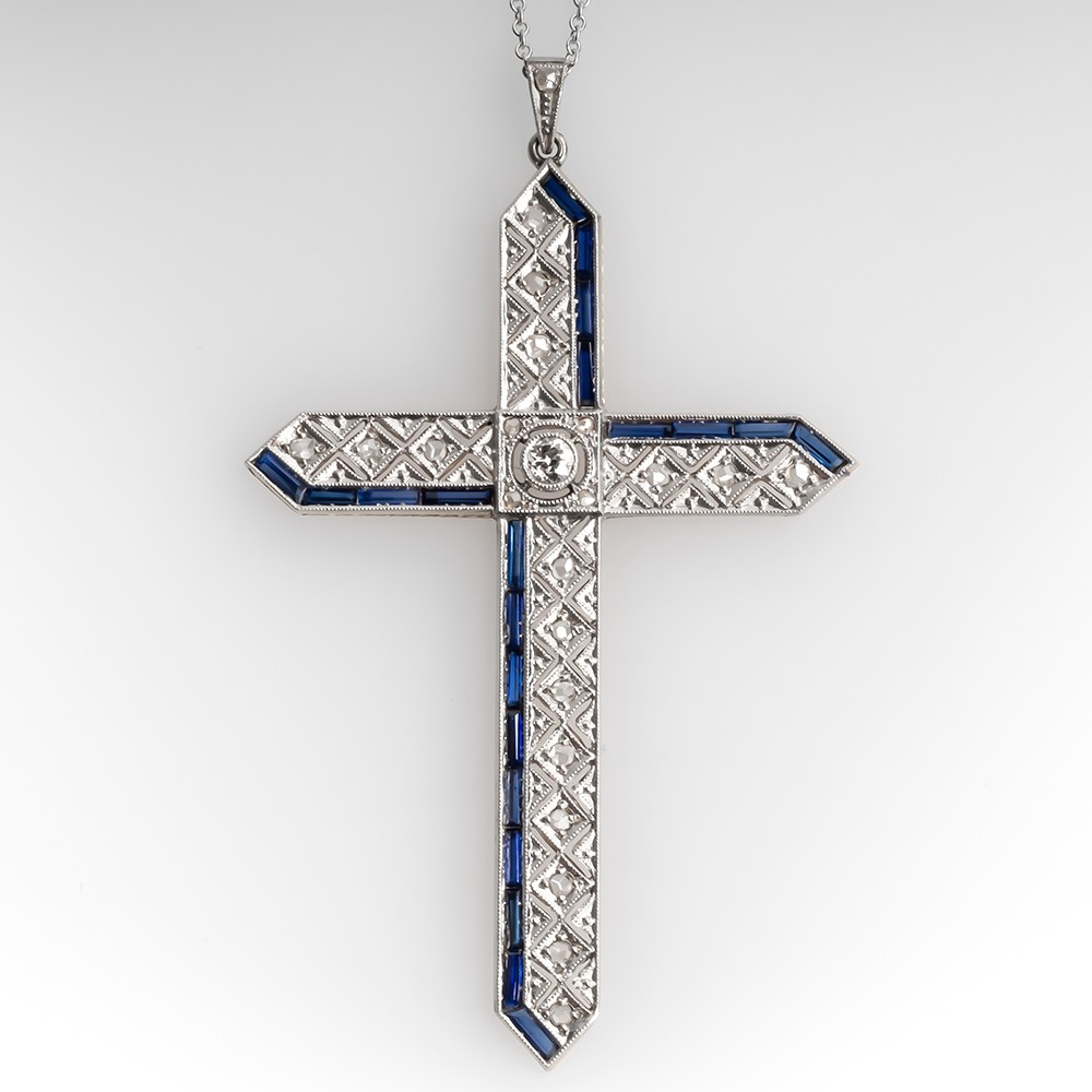 Antique Rose Cut Diamond Filigree Cross Pendant Necklace 18K & Platinum