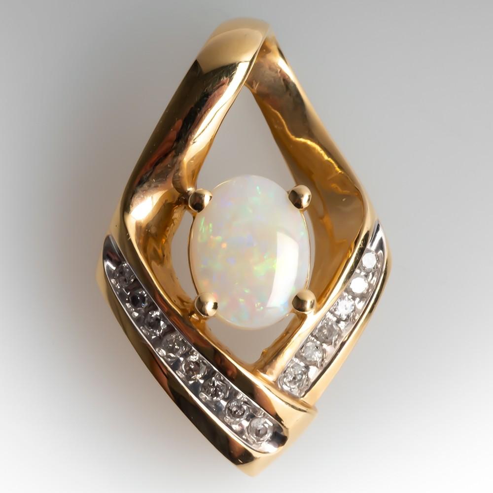 Crystal Opal & Diamond Slide Pendant 14K Yellow Gold