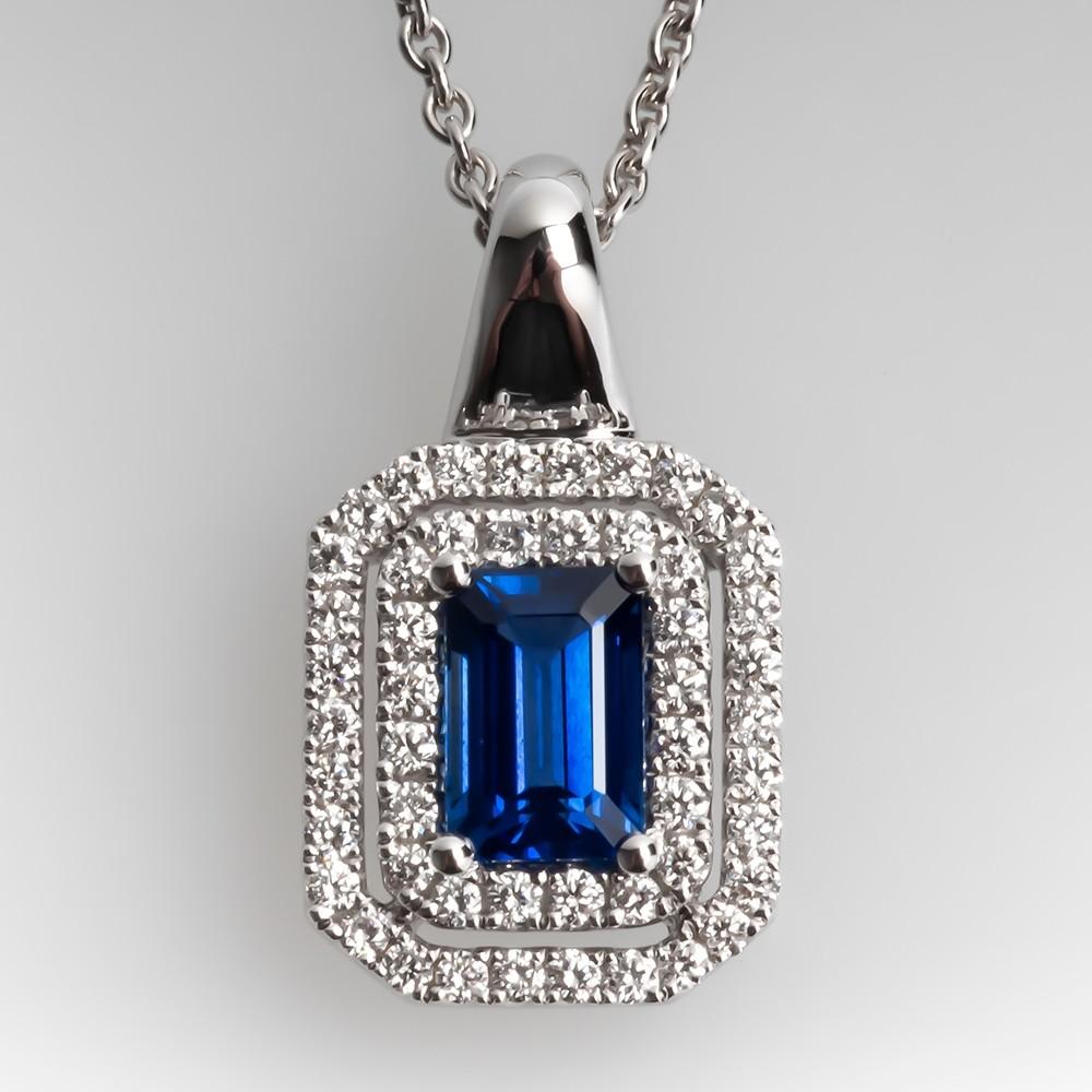 Spark Blue Sapphire Diamond Halo Pendant Necklace 18K
