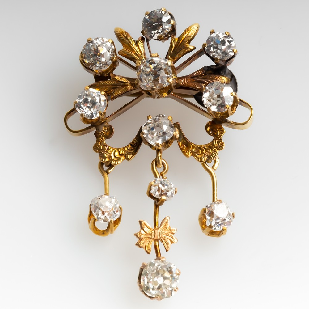 Antique Victorian Era Old Mine Cut Diamond Brooch Pin 14K Gold