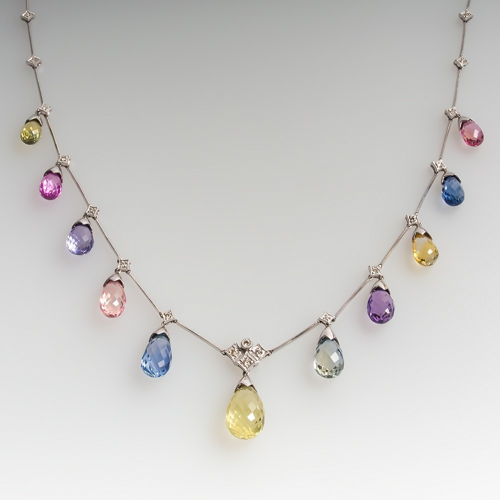 Pastel Briolette Rainbow Sapphire Necklace 18K White Gold