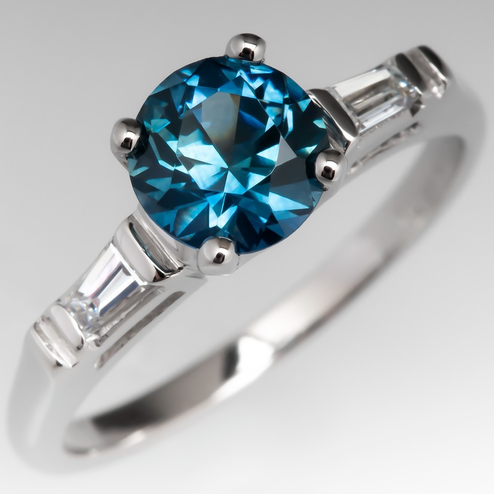 No Heat Montana Sapphire Engagement Ring w/ Baguette Diamonds