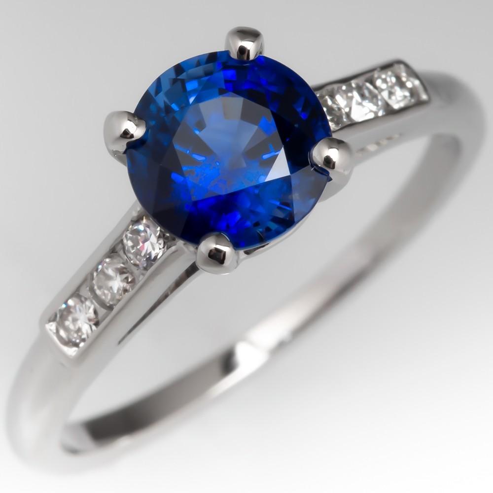 1.5 Carat Rich Blue Sapphire Vintage Engagement Ring w/ Diamonds