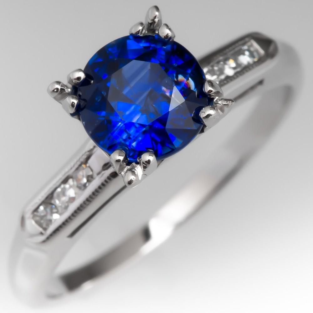Vintage Blue Sapphire Engagement Ring w/ Diamond Accents 14K White Gold