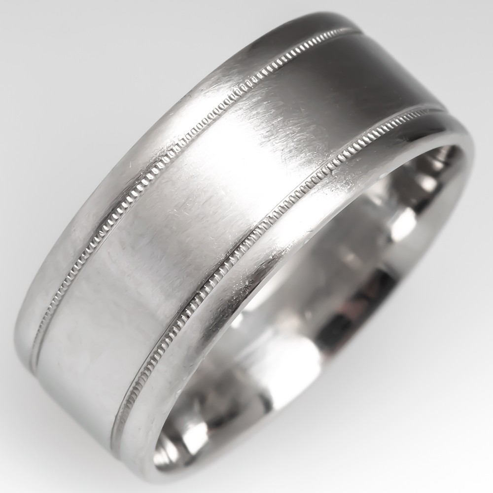 Unisex Platinum Wedding Band 8MM Wide, Size 7.75