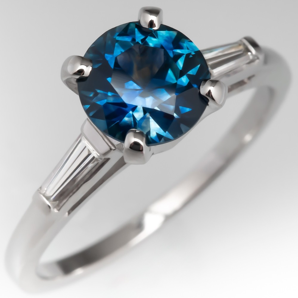 No Heat Montana Sapphire Engagement Ring 1960's Tapered Baguette Mounting