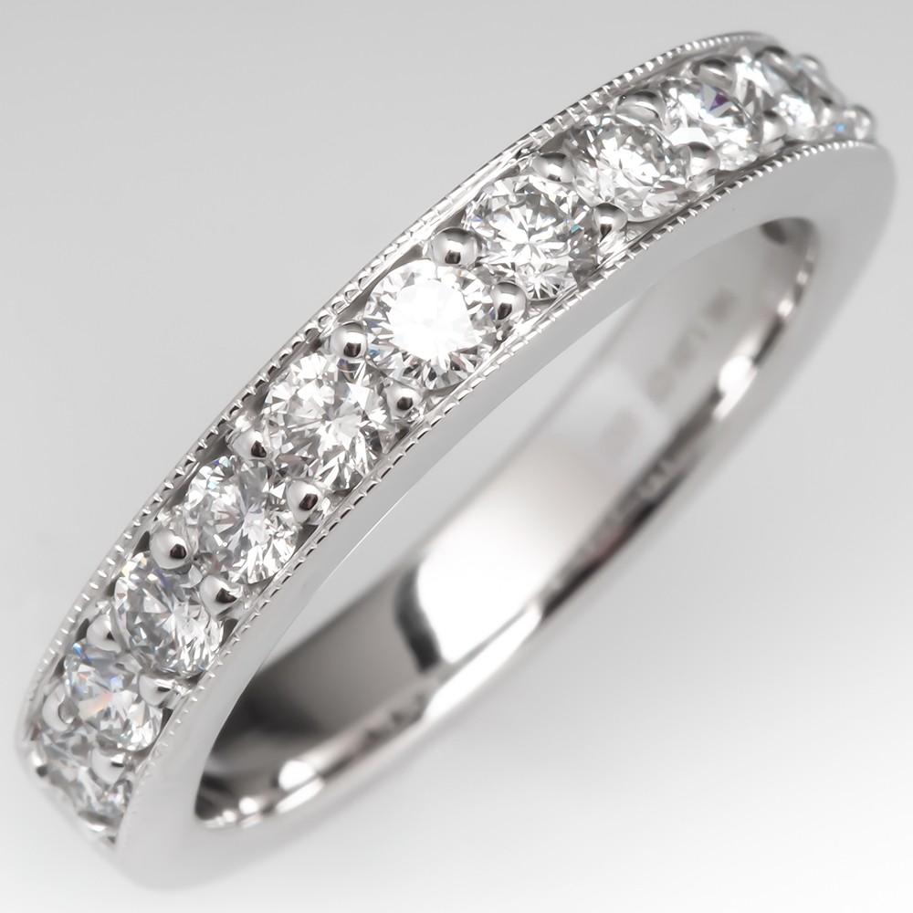 1 Total Carat Diamond Wedding Band Ring 3.6MM Wide 14K