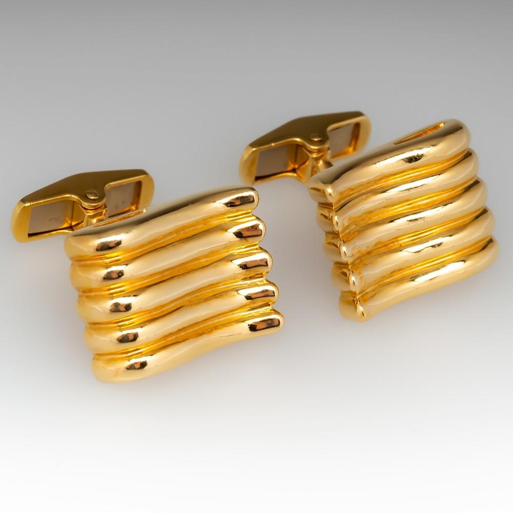 Vintage Retro Mens 18K Yellow Gold Cufflinks