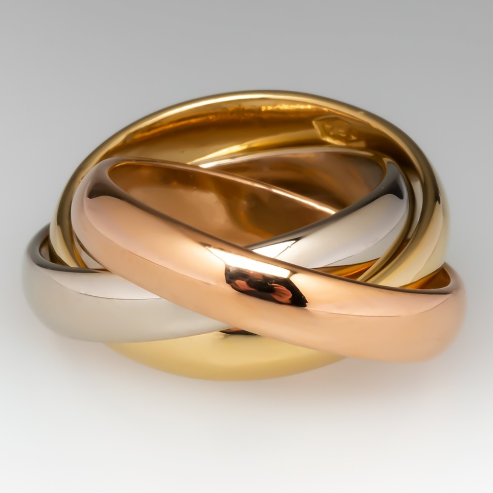 Rolling 3 Band Ring Yellow White & Rose Gold 14K Size 5.75