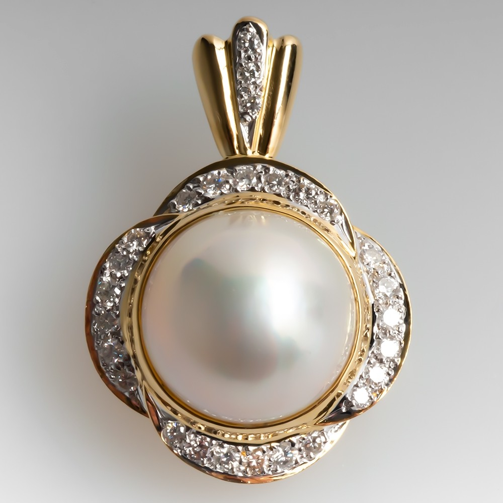 Mabe Pearl & Diamond Enhancer Pendant 18K Yellow Gold Medium Size