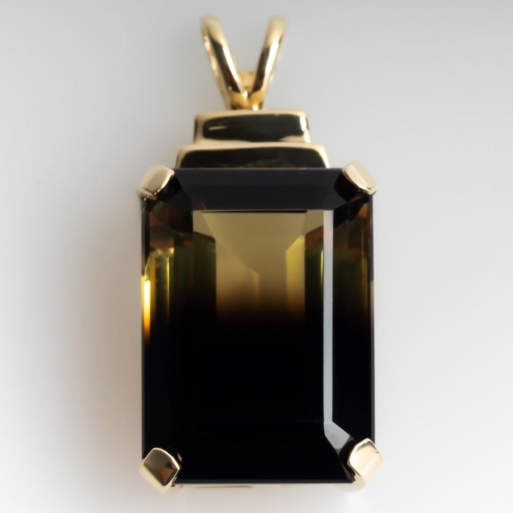 Emerald Cut Bi-Color Quartz Pendant 10K Yellow Gold