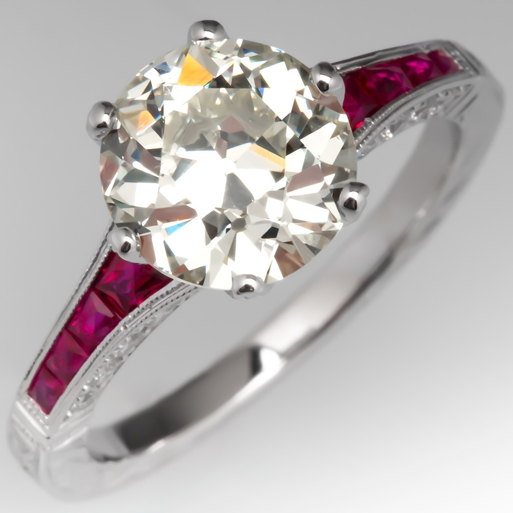 2 Carat Old Euro Diamond Engagement Ring w/ Ruby Accents