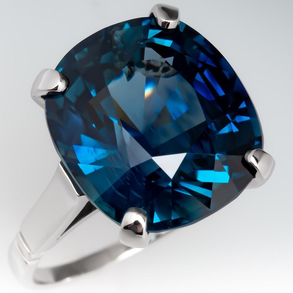 Magnificent 15 Carat Teal Sapphire Solitaire Ring Platinum