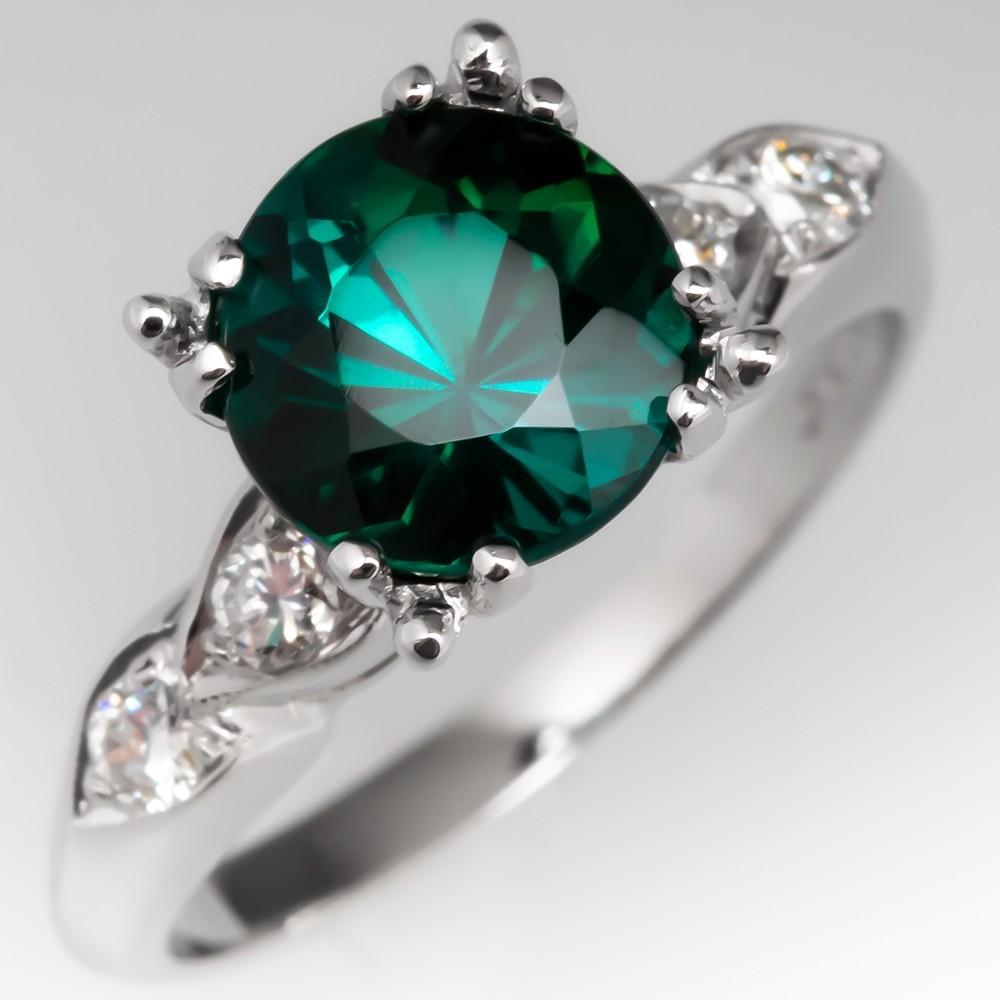 Green Tourmaline Engagement Ring Vintage Platinum Diamond Mounting