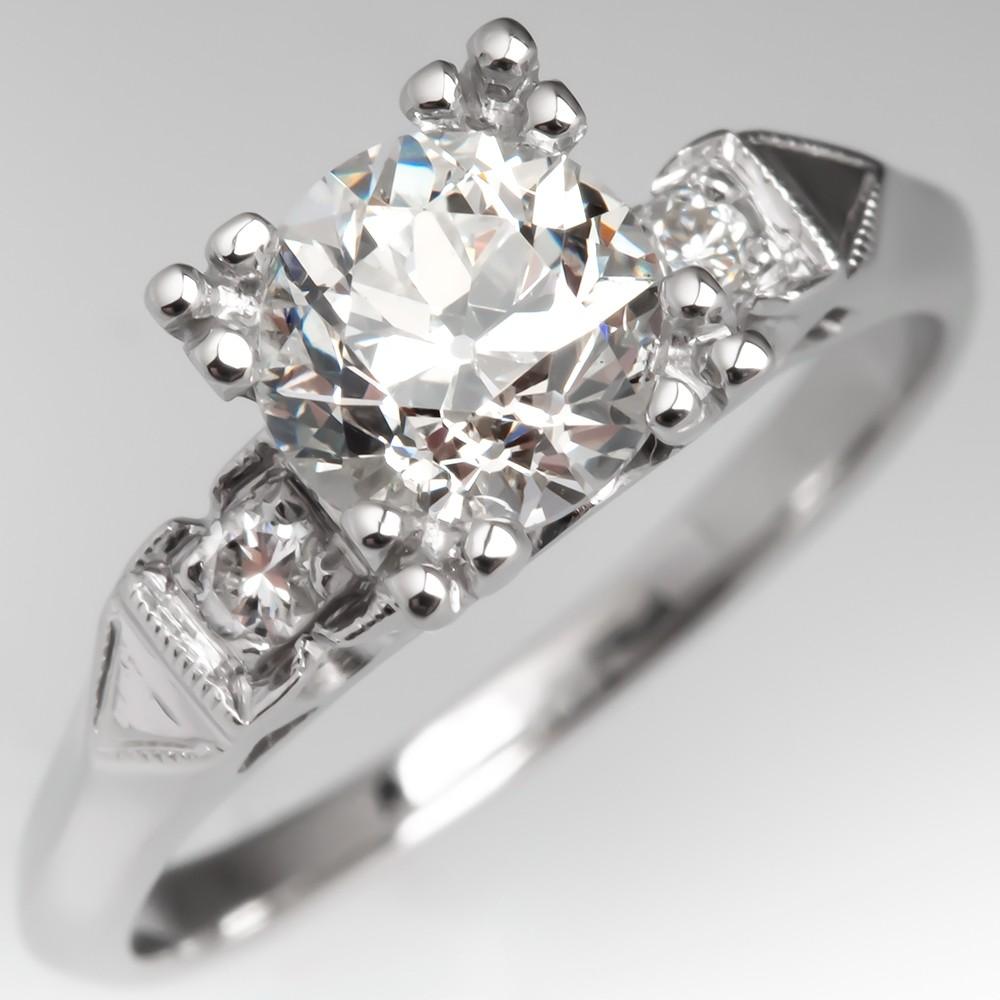 1 Carat Transitional Cut Diamond Engagement Ring Platinum Detailed