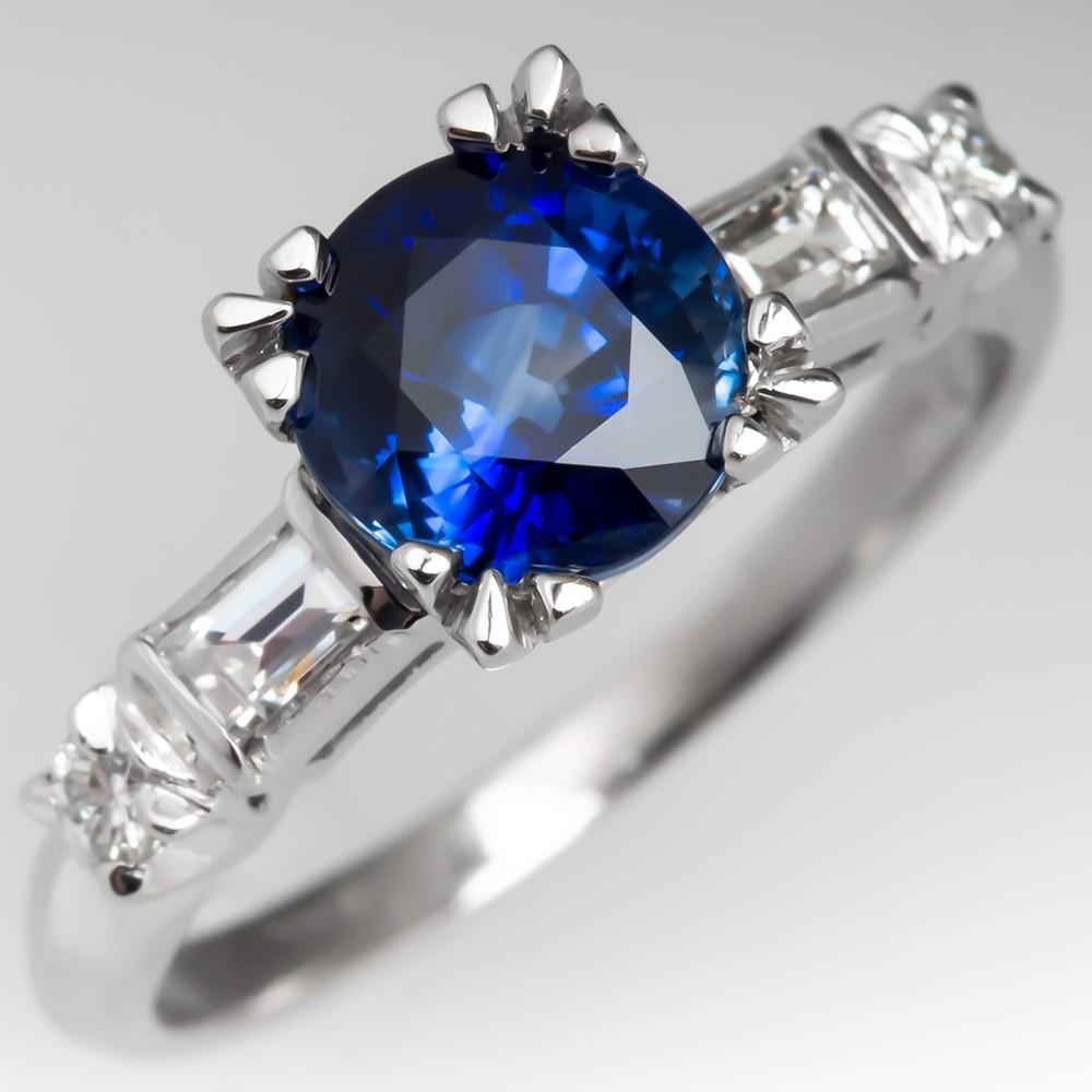 Rich Blue Sapphire Engagement Ring w/ Baguette Diamonds