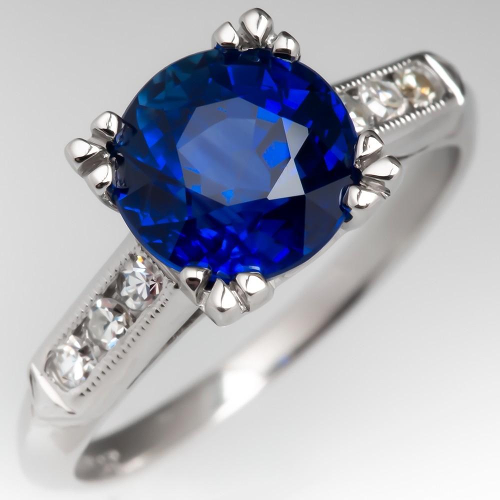 2.7 Carat Rich Blue Sapphire Engagement Ring 1950's Platinum Mount