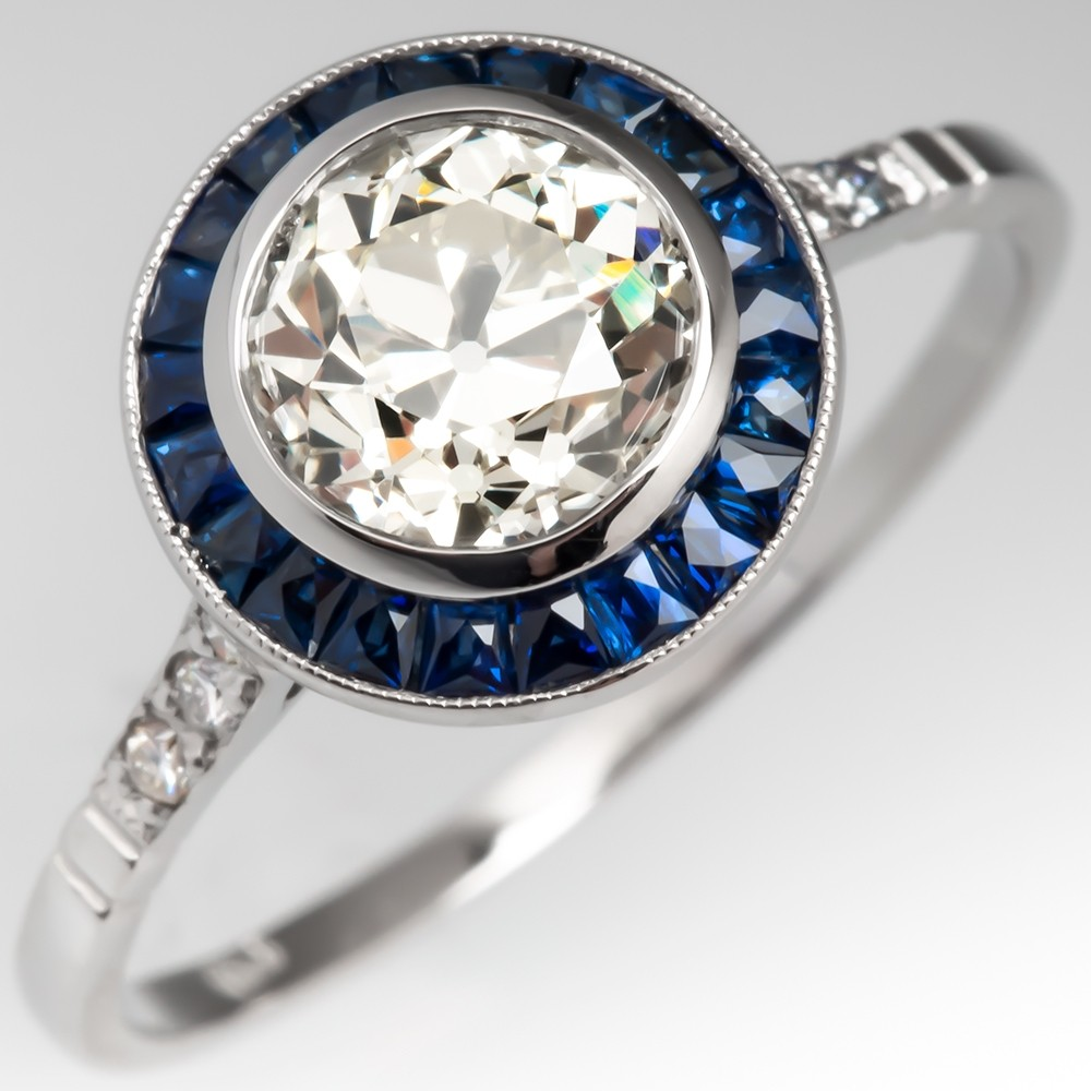 Old European Cut Diamond & Blue Sapphire Halo Engagement Ring